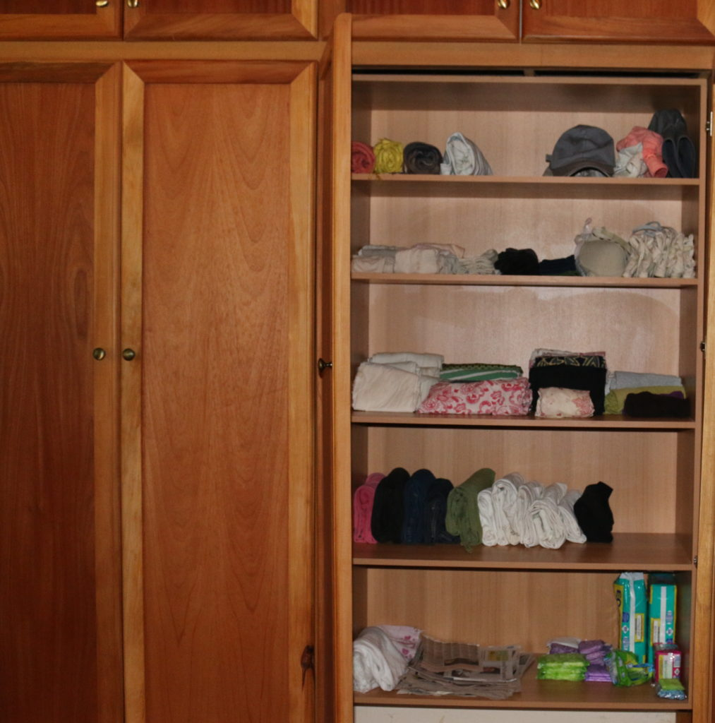 My clothes closet. Pants for outside, night wear, home wear, inner wear, napkins, caps, scarves.
