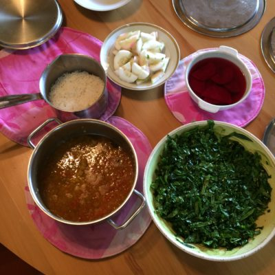 13 Dec Lunch - White rice, black beans curry, cucumber with black salt, beet slices soaked in black salt water, marinated kale-collard salad with olive oil, sesame seeds, black salt and lemon juice.