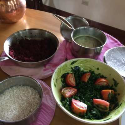 15 Dec Lunch: Chard salad with sesame seeds, pine nuts, raisins, salt, lemon juice, olive oil. Beetroot curry with peanut powder and garlic, rice and daal.