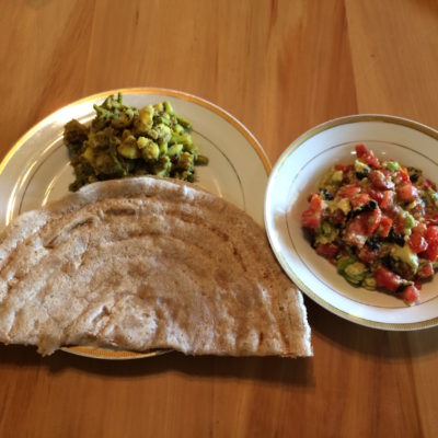 21 Dec Lunch - Barley dosa, steamed potato curry with garam masala and rosemary, avocado-celery-tomato-nori-sesame seed salad.